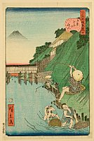Hirokage Utagawa active 1855 - 65 - Humorous Scenes at the Famous Places of Edo - No. 4