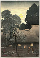 Yoshio (Raizan) Kawatsura 1880-1963 - Village in Twilight