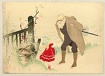 Eisen Tomioka 1864-1905 - Old Man and a Girl