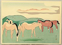 Hanjiro Sakamoto 1882-1969 - Horses in Pasture - Five Views of Aso