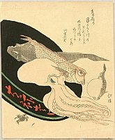 Hokkei Totoya 1780-1850 - Delicacies of the Sea