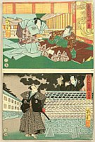 Yoshitoshi Tsukioka (Taiso) 1839-1892 - 47 Ronin - Kanadehon Chushingura Act.3, Act.4