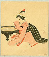 Shuho Yamakawa 1898-1944 - Kamuro at a Charcoal Heater