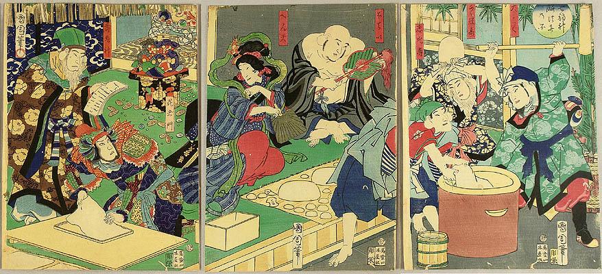 Kunichika Toyohara 1835-1900 - Seven Lucky Gods Making Rice Cake.
