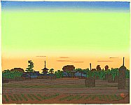 Village of Horyu Temple in the Sunset Color - By Unichi Hiratsuka