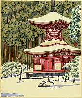 Unichi Hiratsuka 1895-1997 - Pagoda on Mt. Koya after Snow