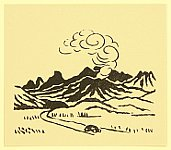 Unichi Hiratsuka 1895-1997 - Mt. Aso and a Car