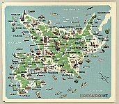 Yasushi Omoto (Ohmoto) born 1926 - Pictorial Hokkaido Map