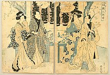 Eizan Kikugawa 1787-1867 - Couples in Temple Ground