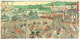 Yoshitora Utagawa active ca. 1840-1880 - Battle of Ashikaga and Kusunoki