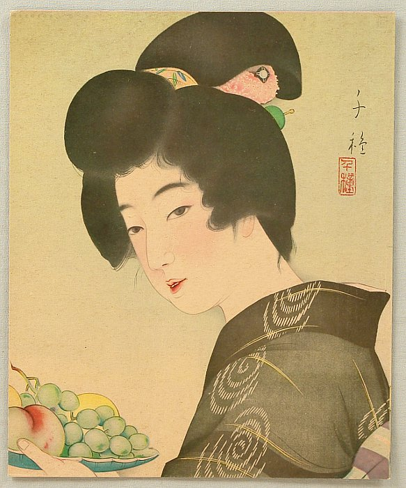 Chigusa Kotani 1890-1945 - Beauty and Fruit Plate