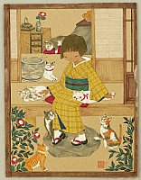 Yuko Iitaka fl.ca. 1990-present - Cats in Early Spring
