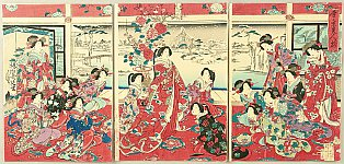 Chikanobu Toyohara 1838-1912 - Beauties and the Snow