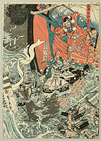 Sadahide Utagawa 1807-1873 - Benkei and the Ghost Warriors