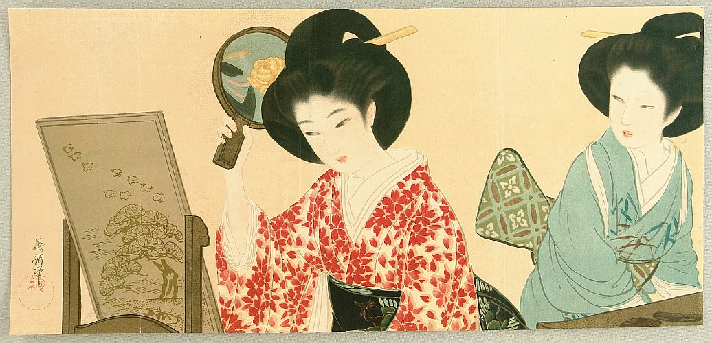 Eiho Hirezaki 1881-1968 - Beauty and a Mirror