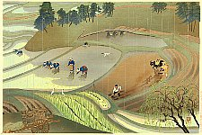 Bakufu Ono 1888-1976 - Rice Planting in the Rain