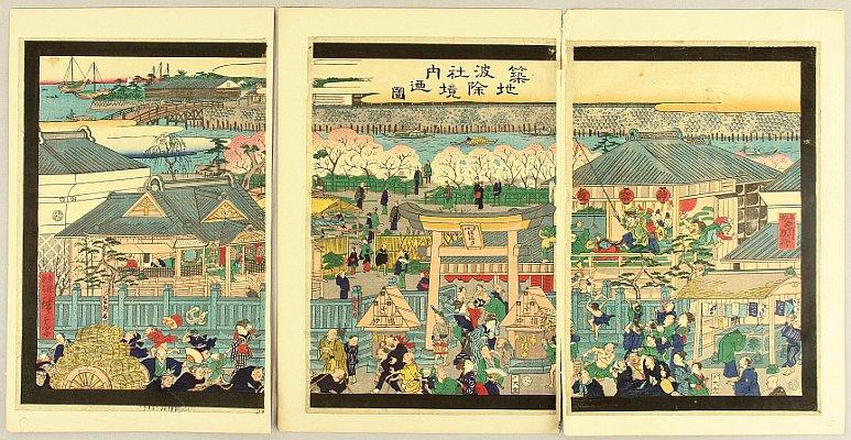 Namiyoke Shrine at Tsukiji - Kawanabe Kyosai - 1831-1889