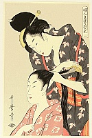 Utamaro Kitagawa 1750-1806 - Twelve Hand Crafts of Ladies - Combing Hair