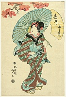 Fusatane Utagawa active ca. 1850s-80s - Beauty with Umbrella