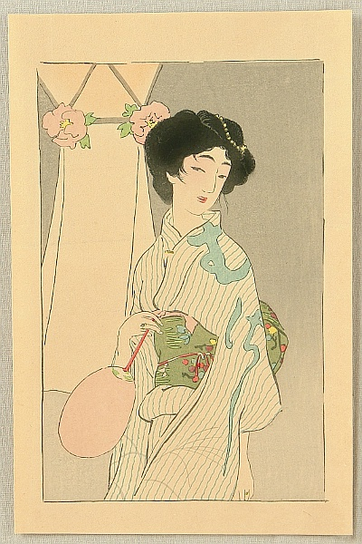 Eiho Hirezaki 1881-1968 - Beauty in Summer Kimono