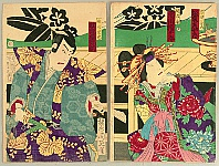 Chikanobu Toyohara 1838-1912 - Courtesan and Samurai - Kabuki