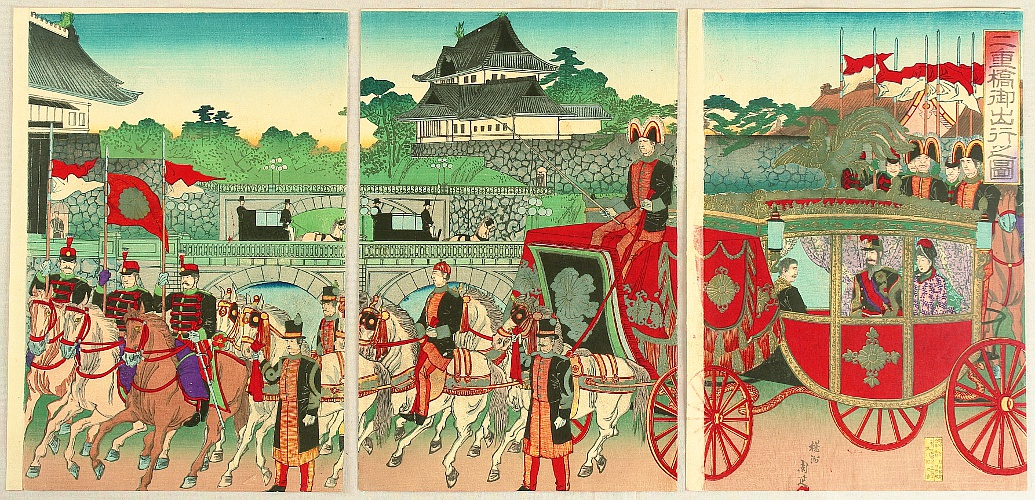 By Chikanobu Toyohara 1838-1912 - Coach Ride from Nijubashi Bridge