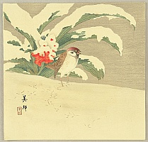Biho Takahashi 1873-? - Sparrow in Snow