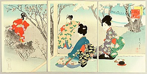 Shuntei Miyagawa 1873-1914 - Beauties in Twelve Months - Cherry Blossoms