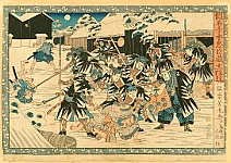Yoshitora Utagawa active ca. 1840-1880 - Night Attack, Act.11 -  Chushingura