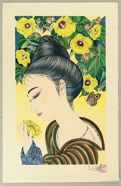 Bokunen Naka born 1953 - Beauty and Hibiscus