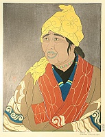 Paul Jacoulet 1902-1960 - Old Ainu Lady - Vieille Aino