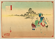 Gekko Ogata 1859-1920 - Twelve Months of the Floating World - Poet Narihira and Mt. Fuji