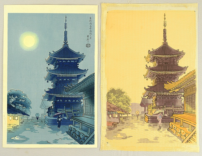 Benji Asada 1899-1984 - The Moon, Rain and Kiyomizu Temple - Trial proof print and the original water color on silk
