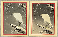 Nisaburo Ito 1910-1988 - Heron at  Snowy Night