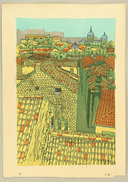 Gagyu Ueda born 1921 - Tiled Roofs in Italy