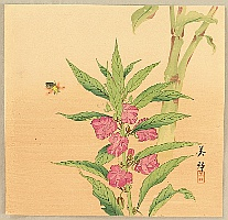 Biho Takahashi 1873-? - Bee and Hollyhock