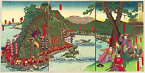 Shogetsu Kojima active 1880-1890 - Shogun views his Troop