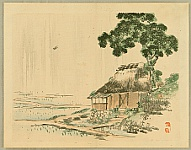 Bairei Kono 1844-1895 - Bairei Gadan - Farm land in Rain