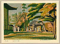 Kazuo Totsutotsu born 1929 - Setting Sunlight at Old Temple
