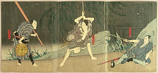 Hirosada Utagawa active ca. 1820-1860 - Kabuki - Fight in the Rain