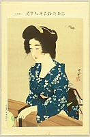 Shinsui Ito 1898-1972 - One Hundred Beauties in Takasago-zome Light Kimono - Beauty in Summer