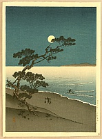 Suma Beach at Night - By Yoshimune Arai