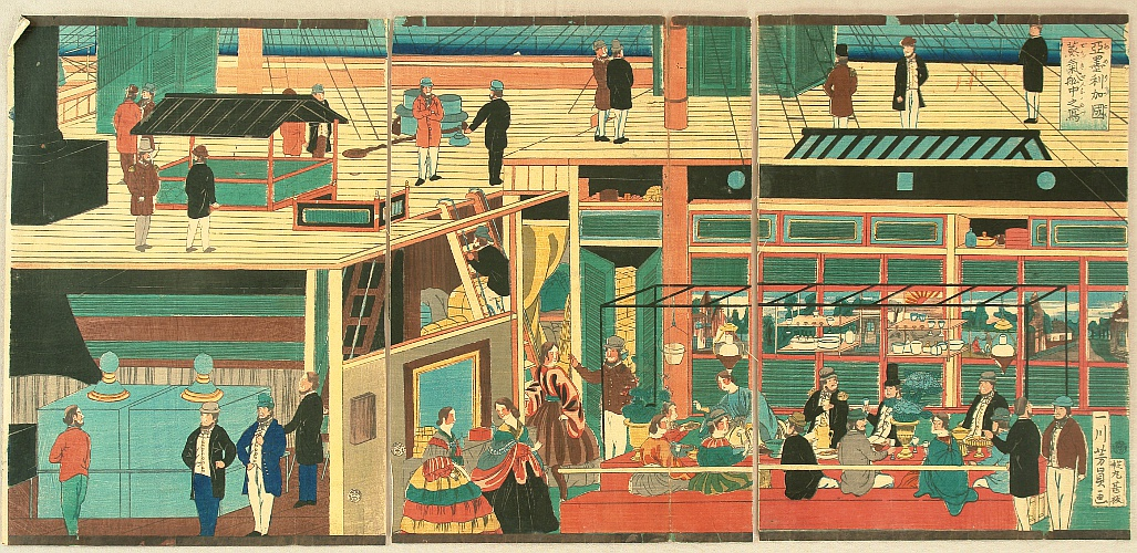 Yoshikazu Utagawa active ca.1850-70 - Inside of a Steam Boat