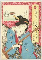 Kunichika Toyohara 1835-1900 - Thirty-six Famous Restaurants in Tokyo - Shamisen PLayer