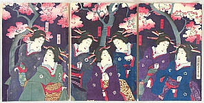 Yoshitora Utagawa active ca. 1840-1880 - Beauties in Cherry Blossom Evening