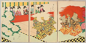 Chikanobu Toyohara 1838-1912 - Court Ladies in Tokugawa Era - Lion Dance