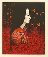 By Kaoru Saito born 1931 - Mezzotint