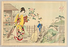 Chikanobu Toyohara 1838-1912 - Twelve Months - Camelia