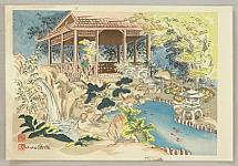 Chiura Obata 1885 - 1975 - Deer in Japanese Garden - Trial Proof