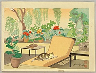 Chiura Obata 1885 - 1975 - Cat on a Poach  - Trial Proof
